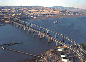 Benicia–Martinez Bridge - Aerial view of the Benicia–Martinez Bridge. From left to right: Southbound span (1962) Railway (1930) and Northbound span (2007)