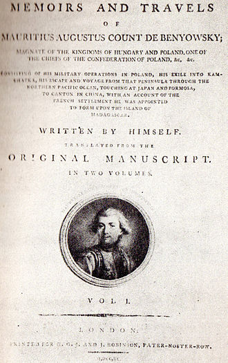 Maurice Benyovszky - Frontispiece of the London 1790 edition of Benyovszky's Memoirs