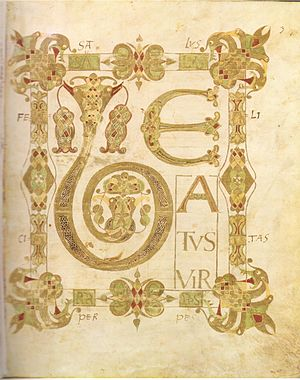 "Beatus vir - ""Beatus vir"" takes up the whole page in this early 9th-century psalter."