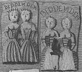 "Two rectangular cakes, one showing two women apparently conjoined at the shoulder and the other one damaged in such a way that it is not clearly apparent whether the women are conjoined. Each cake has the word ""Biddenden"" written above the women."