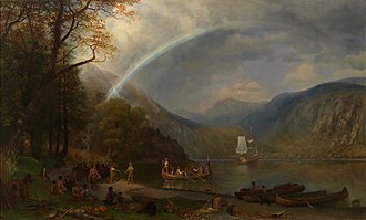 History of the Hudson River - Discovery of the Hudson River, Albert Bierstadt, 1874