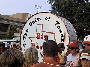 Big Bertha (drum) - Big Bertha outside Darrell K. Royal-Texas Memorial Stadium before a UT football game.