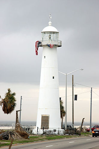 Biloxi Light - Photograph of Biloxi Lighthouse on January 23, 2006, 5 months after Hurricane Katrina