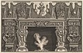 Bird in shell at the center of the lintel, with a frieze of trophies, surmounted by an overmantel with candelabra and flanked by chairs. (Ch. décorée d'une frise de casques et d'armures . . .) MET DP828305.jpg