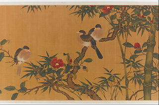 Birds, bamboo, and camelias