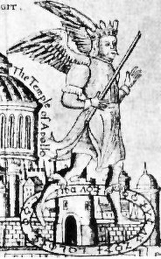 Bladud - An image of Bladud attempting to fly with his artificial wings (from the Lyte Pedigree of 1605. British Library Catalog entry Add. Ms. 48343).