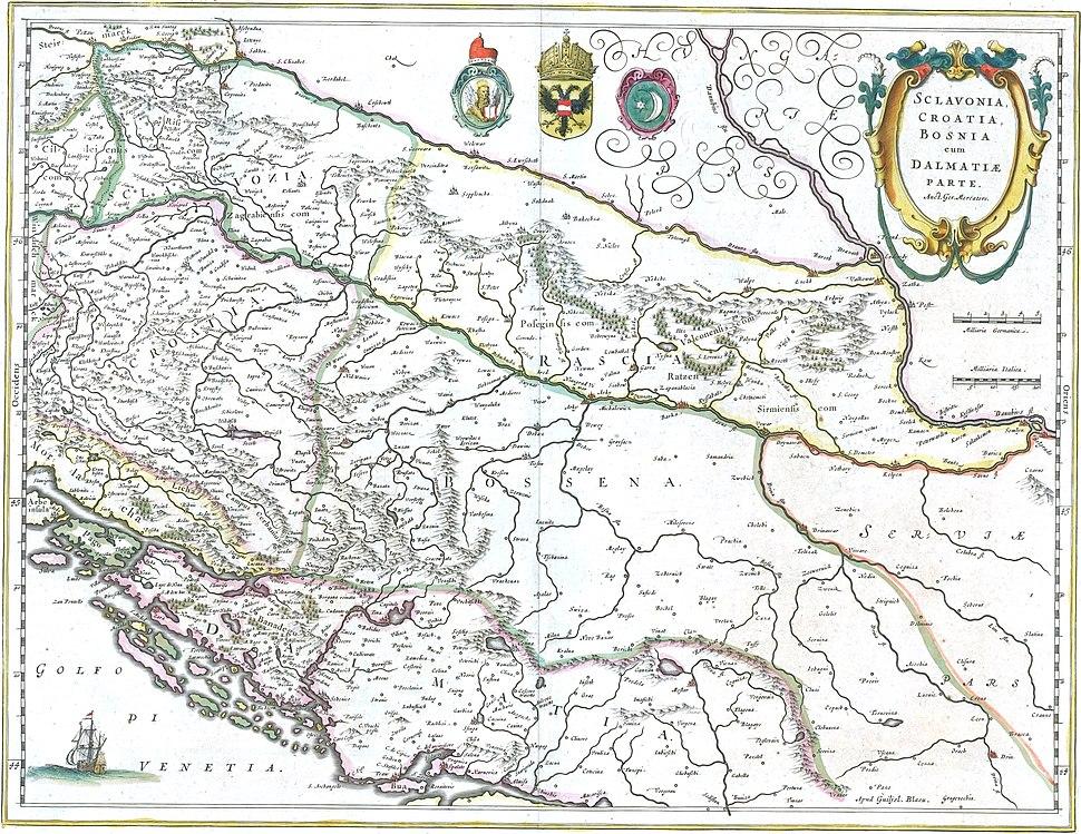 Blaeu 1645 - Sclavonia Croatia Bosnia cum Dalmatiæ parte