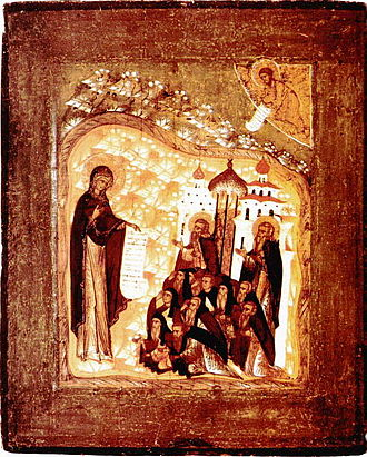 Theotokos of Bogolyubovo - The Bogolubskaya Icon of the Theotokos with Ss. Zosimus and Sabbatius (Old Believer oratory at Volkov cemetery, St. Petersburg).