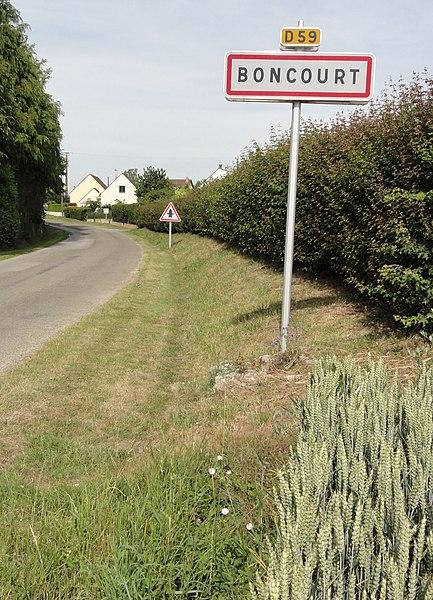Boncourt (Aisne) city limit sign