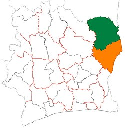Location of Bounkani Region (green) in Ivory Coast and in Zanzan District