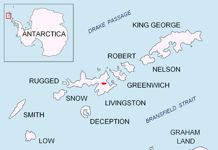 Location of Bowles Ridge on Livingston Island in the South Shetland Islands. Bowles-Ridge-location-map.PNG