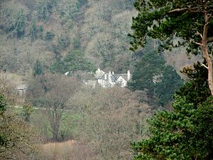 Bradley (house) - A distant view of Bradley showing its location in the wooded valley.