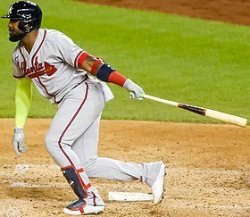 Braves Marcel Ozuna doubles in the 6th inning September 11, 2020 (50333317031) (cropped).jpg