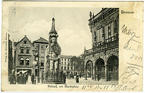 Bremen Roland - Postcard of Bremen from circa 1905, showing Roland and the marketplace.
