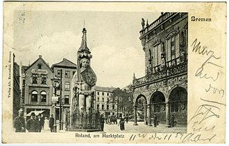Bremen Roland - Image: Bremen, 'Roland am Marktplatz' (ca. 1905; Verlag Alb. Rosenthal, Bremen)