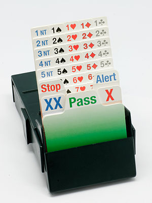 Contract bridge - A bidding box containing all the possible calls a player can make in the auction.