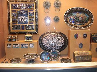 Waddesdon Bequest - Display in 2014, mostly of Renaissance enamel, but including ancient handle mounts and the St Valerie chasse reliquary