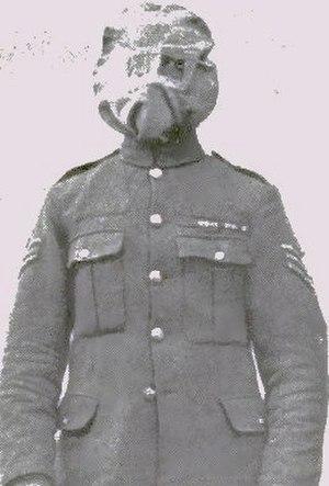 Gas attacks at Wulverghem - Image: British soldier in a Hypo or Smoke helmet