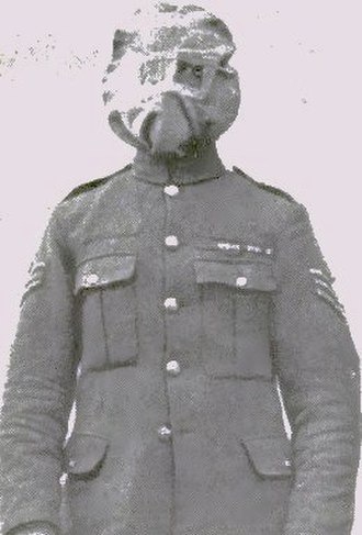 Gas attacks at Wulverghem - Image: British soldier in a Hypo or Smoke helmet