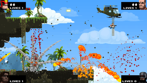 Broforce - Screenshot showcasing the end sequence, where the player has to reach for a helicoper while leaving the area with explosions.