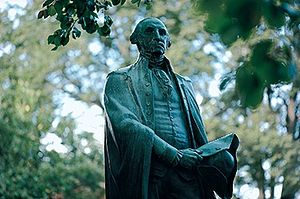 Washington College - A bronze George Washington statue overlooks the campus green.