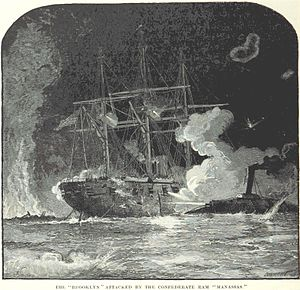 USS Brooklyn (1858) - Brooklyn under attack by CSS Manassas