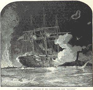 USS Brooklyn (1858) - Brooklyn under attack by CSS Manassas