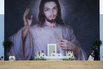 Divine Mercy image - Pope Francis celebrating the Holy Mass in front of the Divine Mercy image at the World Youth Day 2016.