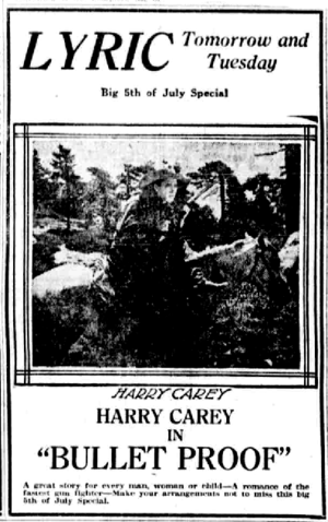 Bullet Proof (1920 film) - July 1920 newspaper ad for the film