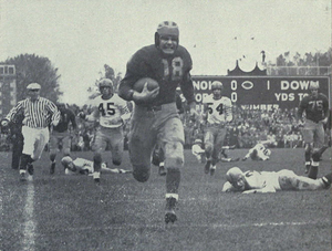 Bump Elliott - Elliott runs 74 yards for a touchdown against Illinois, 1945