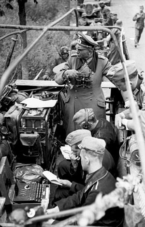 Heinz Guderian - Heinz Guderian with an Enigma machine in a Sd.Kfz. 251 half-track being used as a mobile command center during the Battle of France