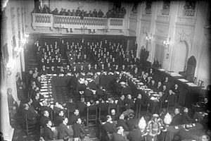 World War I reparations - The opening of the Second Hague Conference: one of the two conferences aimed at implementing the Young Plan.