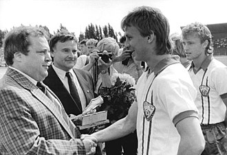Andreas Thom - Thom receiving the East German Footballer of the Year award in 1988