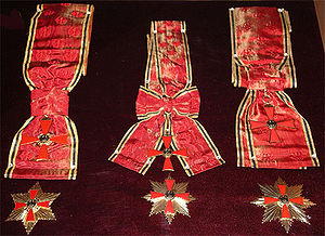 Grand Cross in a Special Design (left), Special degree of the Grand Cross (middle and right)
