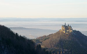 Hohenzollern Castle - View of the castle and surrounding countryside from the Albtrauf