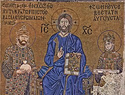 Constantine IX and Zoya, crowned by Christ. Mosaic
