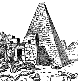 Encyclopaedia Biblica - An image illustrating the article 'Ethiopia' – one of the Nubian pyramids at Meroe