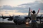 C-130H aircraft prepares to take off (10963120366).jpg