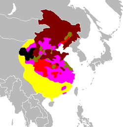 Map showing the Communist-controlled China 1934 to 1949:   CCP in 1934-1945   CCP expansion in 1945-mid 1946   CCP expansion in mid 1946-mid 1947   CCP expansion in mid 1947-mid 1948   CCP expansion in mid 1948-mid 1949   the CCP's final expansion in mid 1949-September 1949