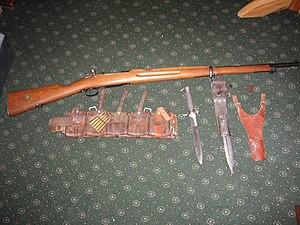 Swedish Mauser - Carl Gustav M96 rifle, bayonet, 2 different bayonet frogs and Swedish Cartridge Belt.