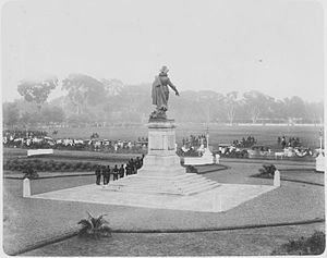 Sawah Besar - Military parade by the statue of Jan Pieterszoon Coen at Waterloo Square in Batavia, Dutch East Indies in 1898 during the coronation of Queen Wilhelmina