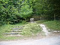 Cairn at track crossing on the West Sussex Literary Trail - geograph.org.uk - 1073882.jpg