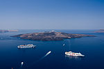 Caldera of Santorini - Nea Kameni - seen from Fira Thira.jpg