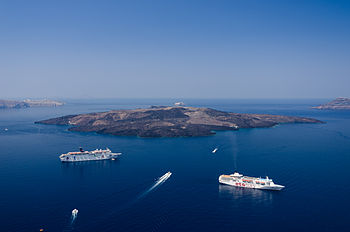 Caldera of Santorini - Nea Kameni - seen from Fira Thira.jpg
