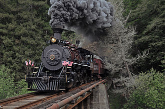 California Western Railroad - California Western 45 photo special eastbound at the first crossing of the Noyo River, 2009.