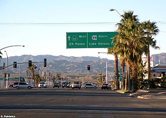 California State Route 62 - Signage at the eastern terminus in Parker, Arizona