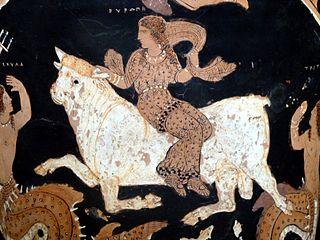 Europa und Zeus auf einem antiken Gefäß
