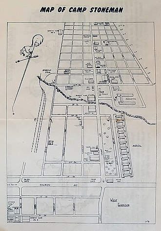Camp Stoneman - 1945 sketch of Camp Stoneman identifying Railroad Avenue and Bliss Avenue (other streets have new names)