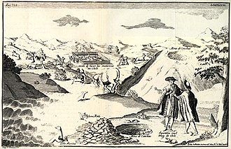 Economic history of Chile - 1744 engraving published in Relación histórica del viaje a la América meridional. The image shows cattle in the Chilean countryside including a square for cattle slaughter.