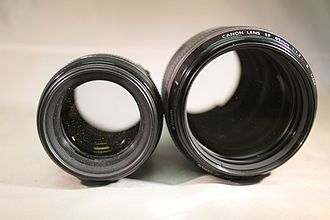 Canon EF 85mm lens - The 85mm f/1.8 (left) and the 85mm f/1.2L II (right)